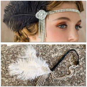 1920's WHITE Flapper Headband with Rhinestones